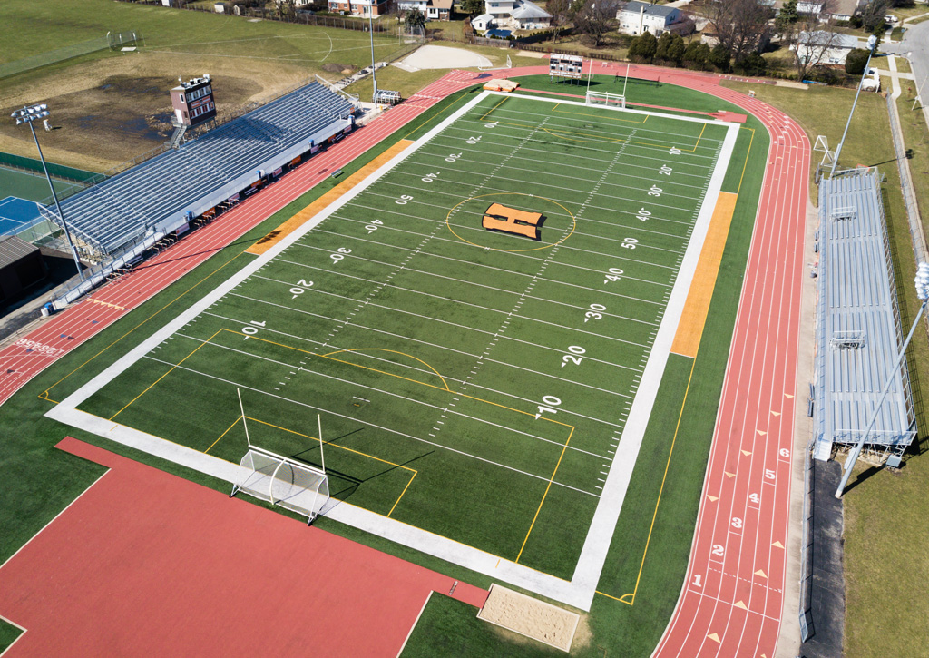 Drone view of football field