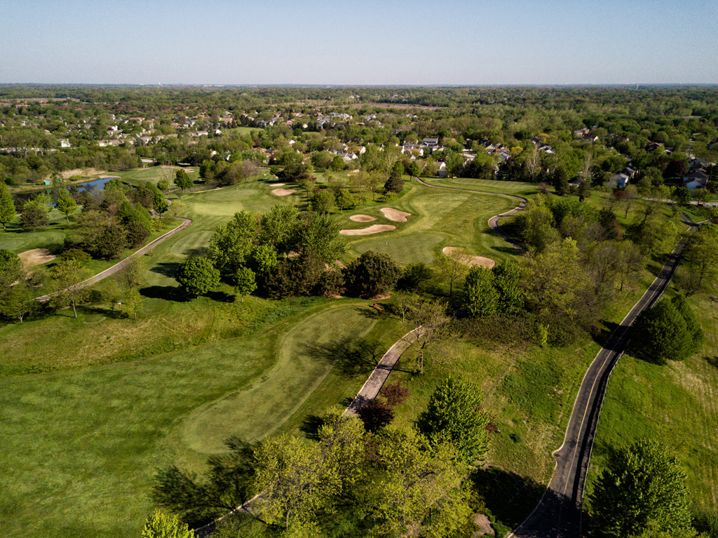 golf course aerial drone view